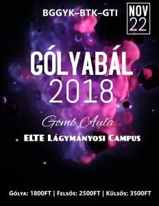 2018. november 22-én kerül megrendezésre az idei év Gólyabálja! Mindenkit sok szeretettel várunk a Lágymányosi Campus Gömbaulájába! Jegyinfókért kövesd az eseményt Facebookon! https://www.facebook.com/events/161908581416089/